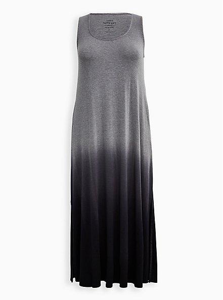 Plus Size Black Ombre Side Slit Super Soft Maxi Dress, BLACK OMBRE, hi-res