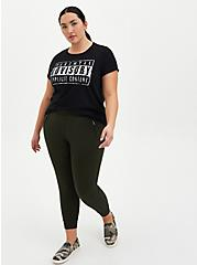 Relaxed Fit Crop Jogger - Dark Olive Ponte, GREEN, alternate