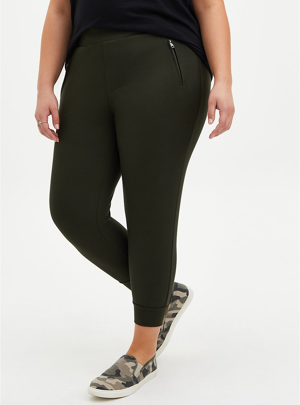 Relaxed Fit Crop Jogger - Dark Olive Ponte, GREEN, hi-res
