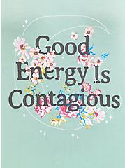 Super Soft Good Energy Green Wash Cold Shoulder Tee , GRAYED JADE, alternate