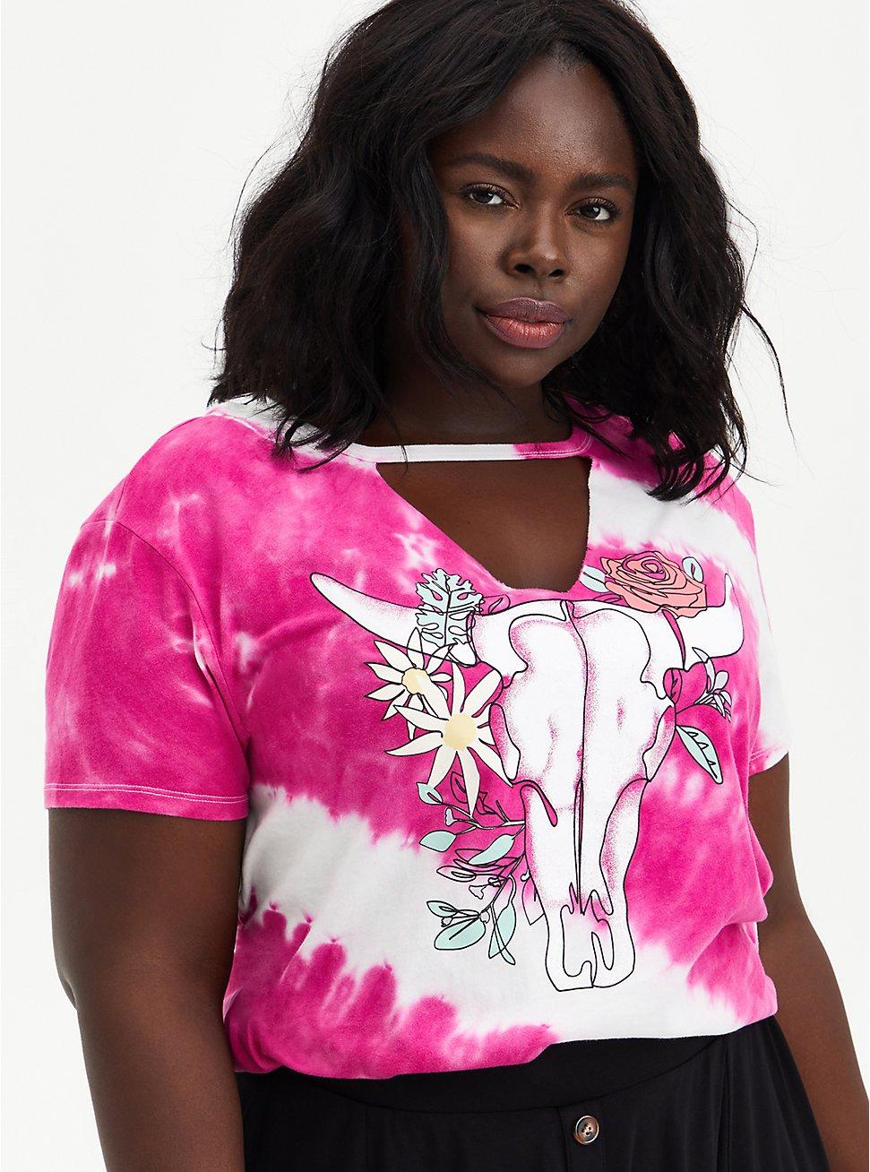 Choker Tee - Skull Pink Tie Dye , PINK GLO, hi-res