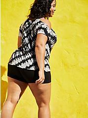 Plus Size Cold-Shoulder Raw-Edge Tee - Cheetah Black Tie-Dye, DEEP BLACK, alternate