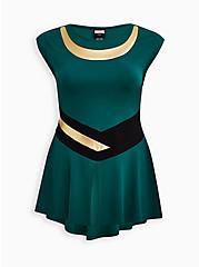 Marvel Loki Hi-Lo Peplum Top , GREEN  BLACK, hi-res