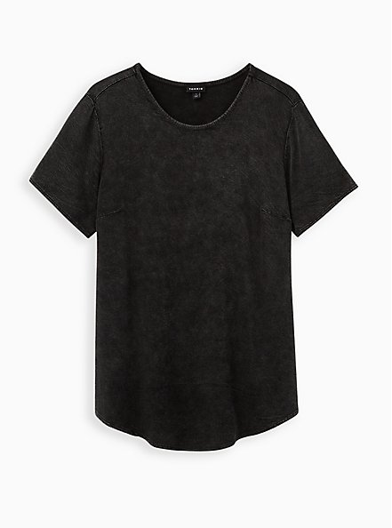 Scoop Neck Tee - Soft-Stretch Challis Black Mineral Wash , DEEP BLACK, hi-res