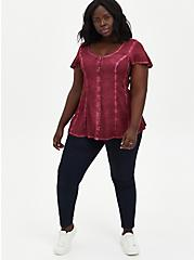 Red Washed Soft-Stretch Challis Fit & Flare Blouse , BEET RED, alternate