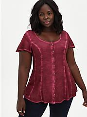Red Washed Soft-Stretch Challis Fit & Flare Blouse , BEET RED, hi-res