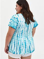 Teal Tie-Dye Soft-Stretch Challis Fit & Flare Blouse, BLUE, alternate