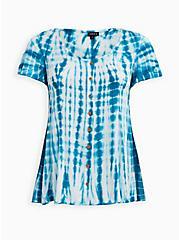 Teal Tie-Dye Soft-Stretch Challis Fit & Flare Blouse, BLUE, hi-res