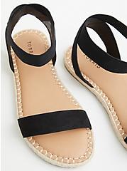 Plus Size Black Faux Suede Stretch Espadrille Sandal (WW), BLACK, alternate