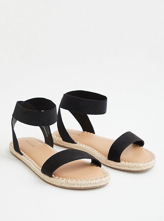 Plus Size Black Faux Suede Stretch Espadrille Sandal (WW), , hi-res