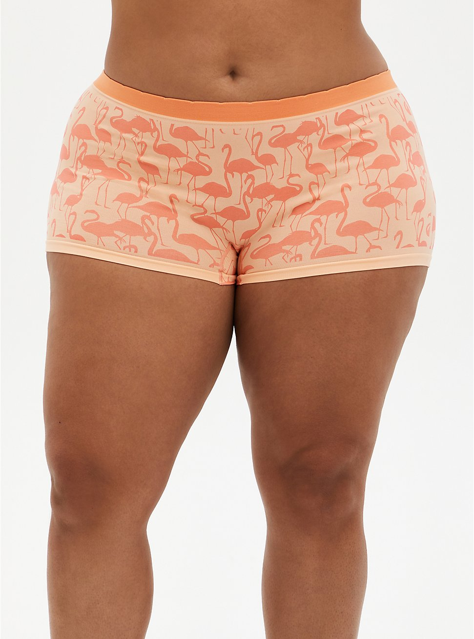 Seamless Boyshort Panty - Flamingo Coral, Flamingo Party- CORAL, hi-res