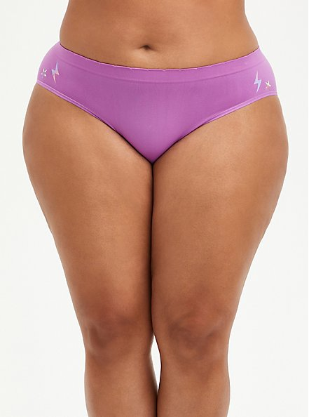 Seamless Hipster Panty - Electric Skull Purple, Electric Skull- PURPLE, alternate