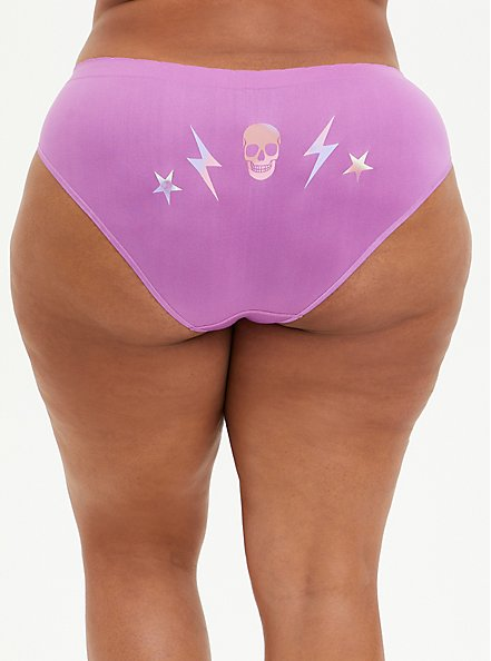 Seamless Hipster Panty - Electric Skull Purple, Electric Skull- PURPLE, hi-res
