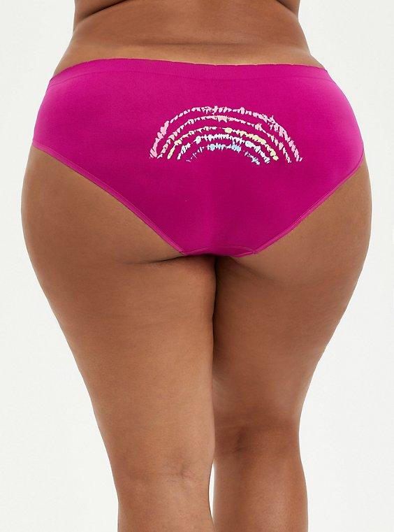 Seamless Hipster Panty - Fuchsia Rainbow Dye, , hi-res