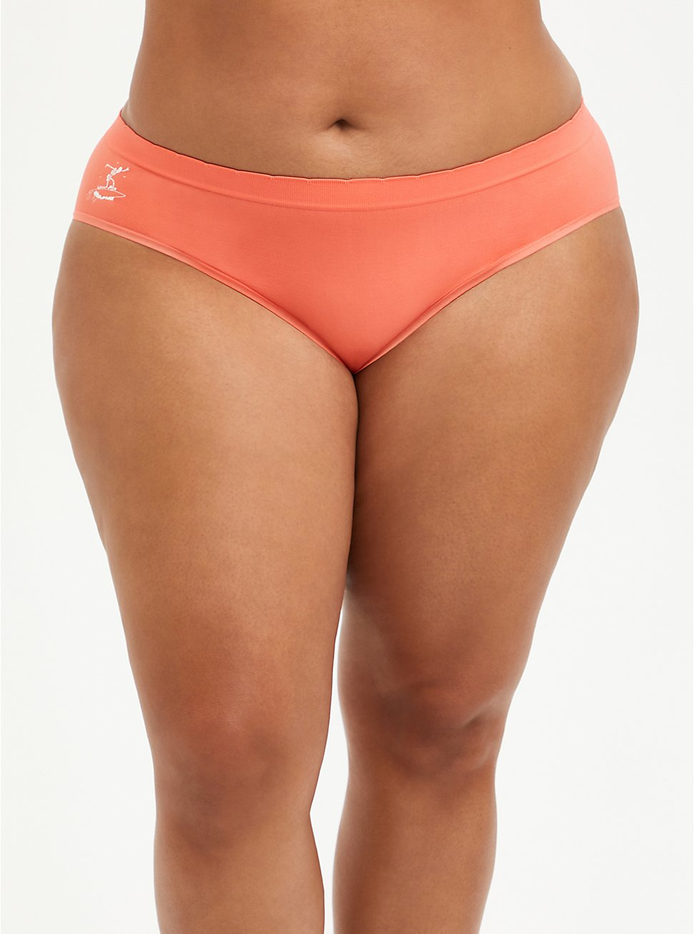 Seamless Hipster Panty - Surfing Skeleton Coral, Surfing Skeleton- CORAL, hi-res
