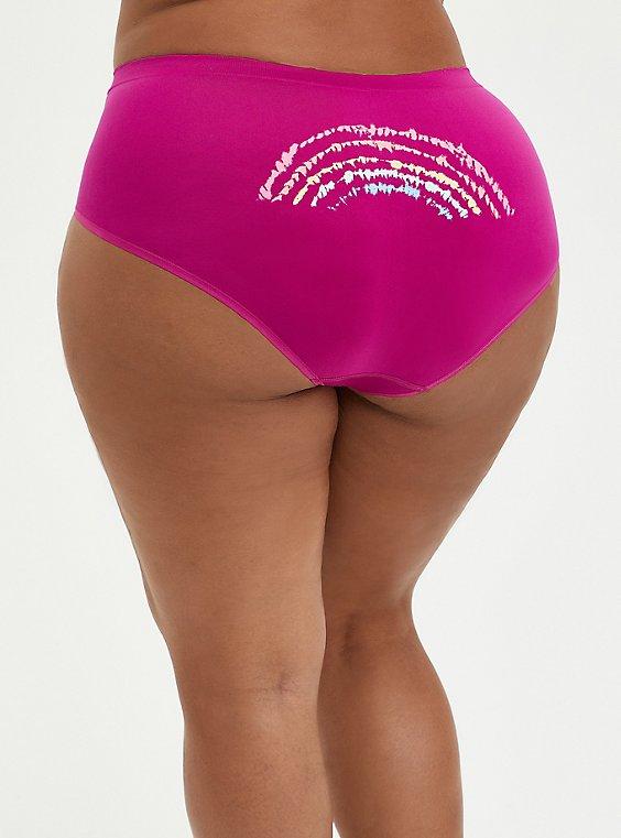 Seamless Brief Panty - Fuchsia Rainbow Dye, , hi-res
