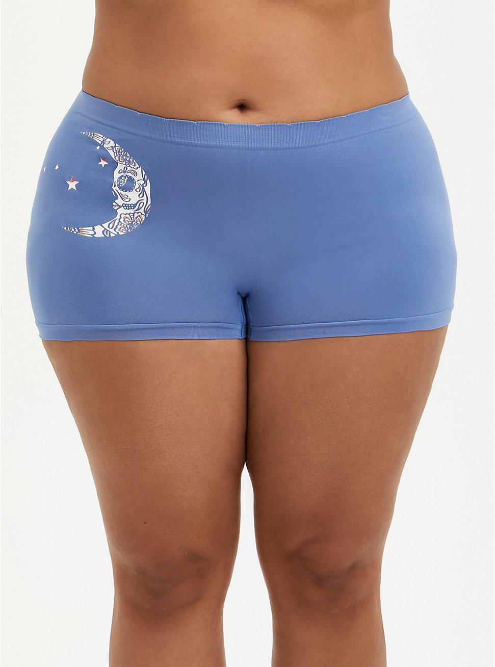 Seamless Boyshort Panty - Moon Blue, Muerta Luna- BLUE, hi-res
