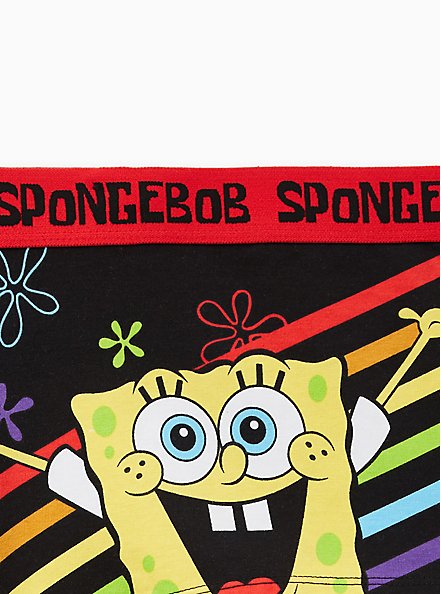 Cotton Boyshort Panty - Nickelodeon SpongeBob SquarePants Love Wins Black, MULTI, alternate