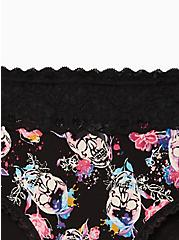 Plus Size Wide Lace Cotton Cheeky Panty - Skull Floral, WATERCOLOR SKULLS, alternate