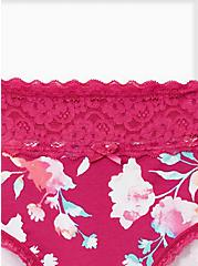 Wide Lace Cotton Hipster Panty - Floral Pink, WATERCOLOR FLORAL, alternate