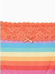 Celebrate Love Wide Lace Boyshort Panty - Cotton Rainbow Stripes, Muted Rainbow Multi- CORAL, alternate