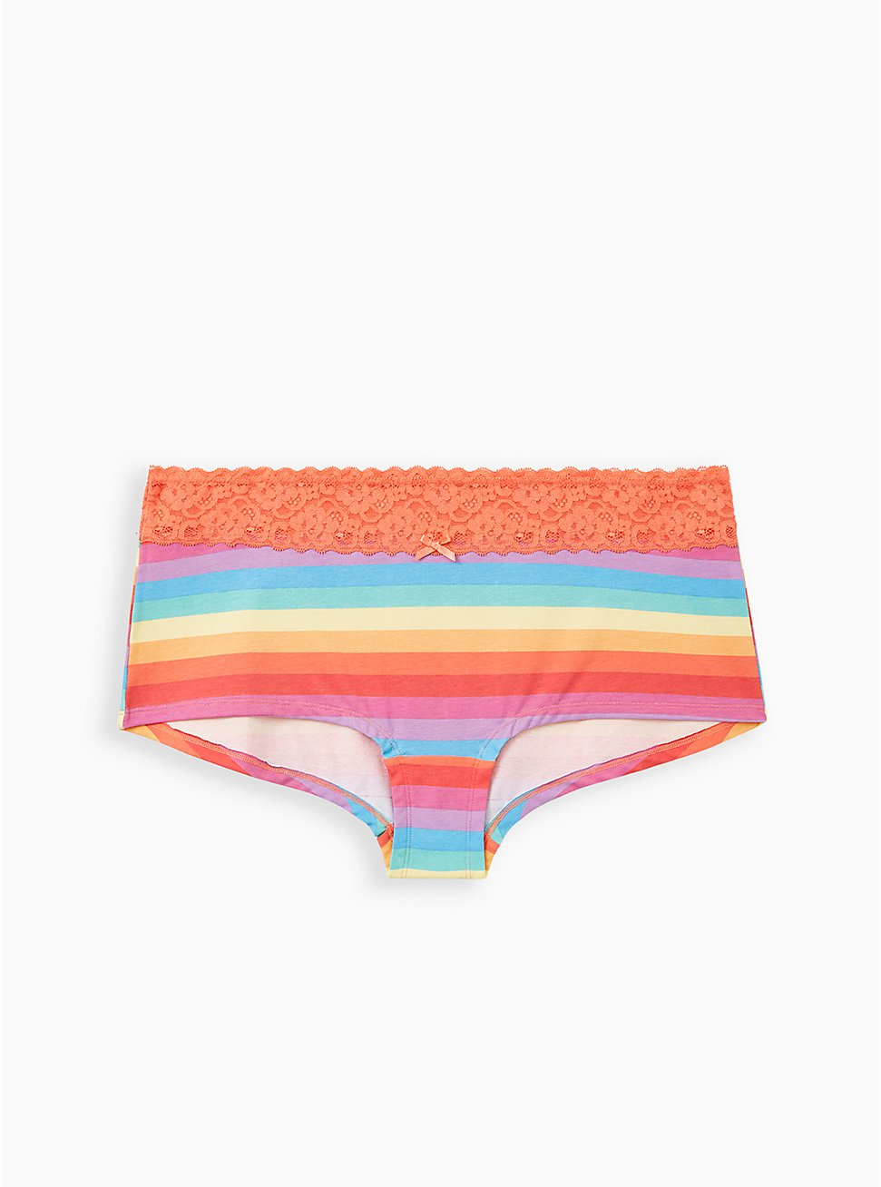 Celebrate Love Wide Lace Boyshort Panty - Cotton Rainbow Stripes, Muted Rainbow Multi- CORAL, hi-res