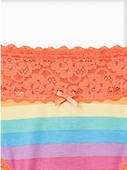 Celebrate Love Wide Lace Thong Panty - Cotton Rainbow Stripes, Muted Rainbow Multi- CORAL, alternate