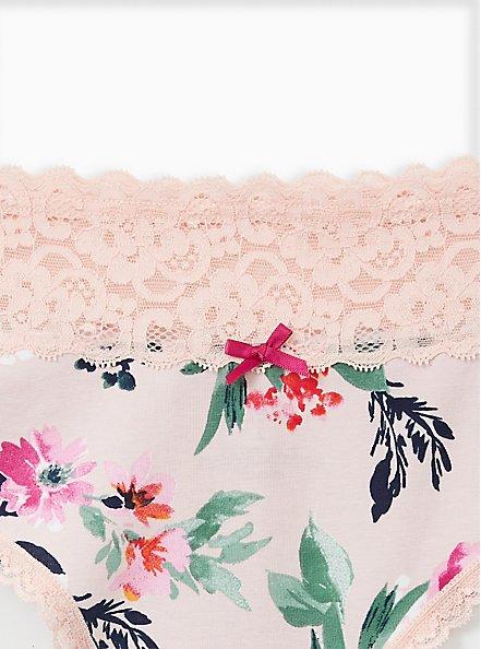 Floral Wide Lace Cotton Thong Panty, TASHA FLORAL PINK, alternate