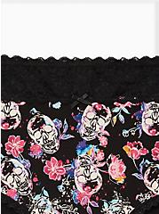 Skull Floral Wide Lace Cotton Brief Panty, WATERCOLOR SKULLS, alternate