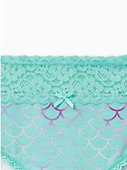 Plus Size Mermaid Wide Lace Cotton Hipster Panty, Peach Mermaid- BLUE, alternate