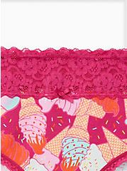 Plus Size Pink Ice Cream Wide Lace Cotton Hipster Panty, Ice Cream Party- PURPLE, alternate