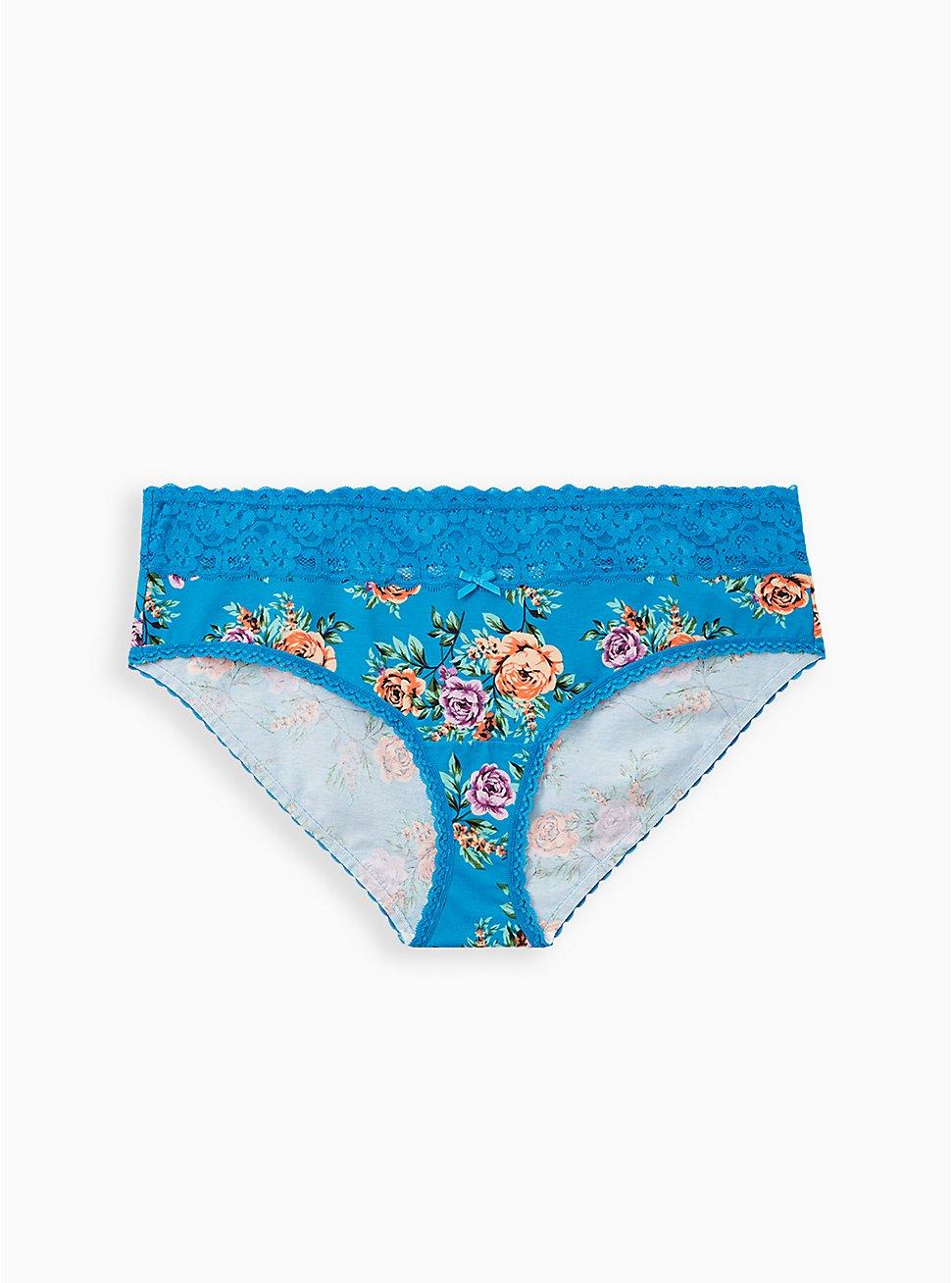 Sky Blue Floral Wide Lace Cotton Hipster Panty, Sky Floral - BLUE, hi-res