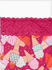 Pink Ice Cream Wide Lace Cotton Boyshort Panty, Ice Cream Party- PURPLE, alternate