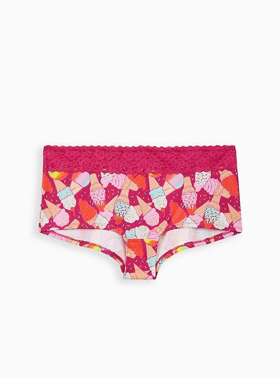 Pink Ice Cream Wide Lace Cotton Boyshort Panty, , hi-res