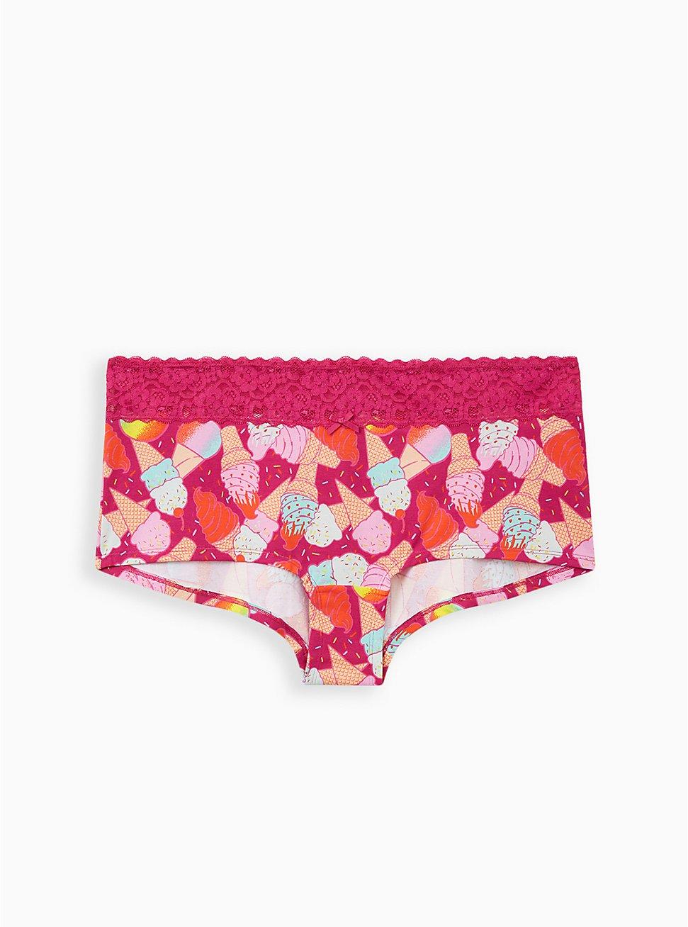 Pink Ice Cream Wide Lace Cotton Boyshort Panty, Ice Cream Party- PURPLE, hi-res