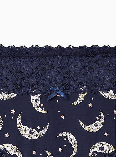 Plus Size Wide Lace Cotton Cheeky Panty - Navy Moons, MUERTOS MOONS- Navy, alternate