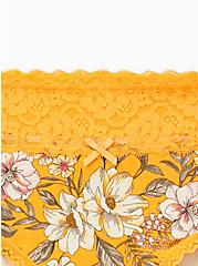 Yellow Floral Wide Lace Cotton Hipster Panty, Trish Floral- YELLOW, alternate