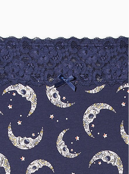 Plus Size Wide Lace Cotton Brief Panty - Navy Moons , MUERTOS MOONS- Navy, alternate