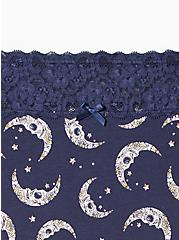 Wide Lace Cotton Brief Panty - Navy Moons , MUERTOS MOONS- Navy, alternate