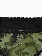 Plus Size Olive Skull Camo Wide Lace Cotton Cheeky Panty, Camo Skull Toss- OLIVE, alternate