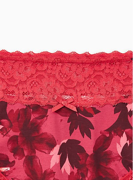 Wide Lace Trim Cheeky Panty - Cotton Blooms Red, DRAMATIC BLOOMS RED, alternate
