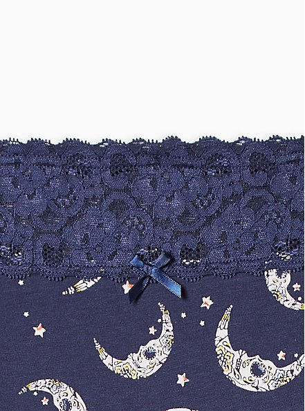 Navy Moons Wide Lace Cotton Hipster Panty, MUERTOS MOONS- Navy, alternate