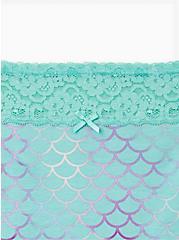 Mermaid Wide Lace Cotton Brief Panty, Diamond Watercolor- WHITE, alternate