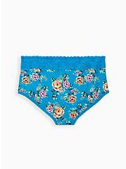 Sky Blue Floral Wide Lace Cotton Brief Panty, Sky Floral - BLUE, alternate