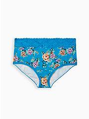 Sky Blue Floral Wide Lace Cotton Brief Panty, Sky Floral - BLUE, hi-res