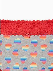 Celebrate Love Wide Lace High Waist Panty - Cotton Grey Tie Dye Hearts , Tie Dye Hearts- GREY, alternate