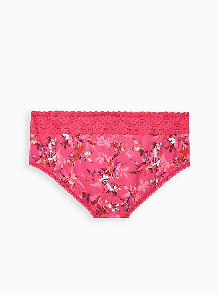 Pink Floral Wide Lace Cotton Cheeky Panty, Light Forest Floral- PINK, alternate