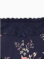 Blue Floral Wide Lace Cotton Cheeky Panty, Pretty Petals- NAVY, alternate