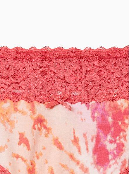 Pink Orange Tie Dye Wide Lace Cotton Cheeky Panty, Tie Dye Motif, alternate