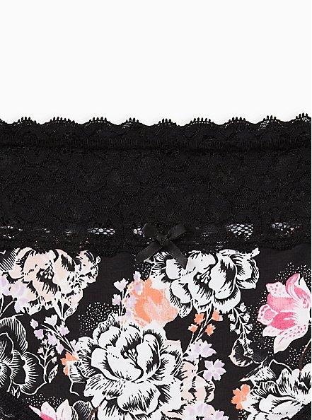 Black Floral Wide Lace Cotton Hipster Panty, Draw Floral- BLACK, alternate